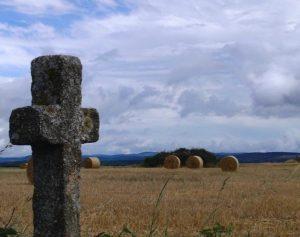 Croix et champ de blé fauché